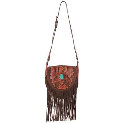 American Darling Leather Eagle and Turquoise Stone Crossbody