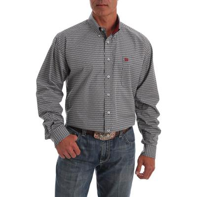 Cinch Men's Cream and Black Geo Print Long Sleeve Shirt