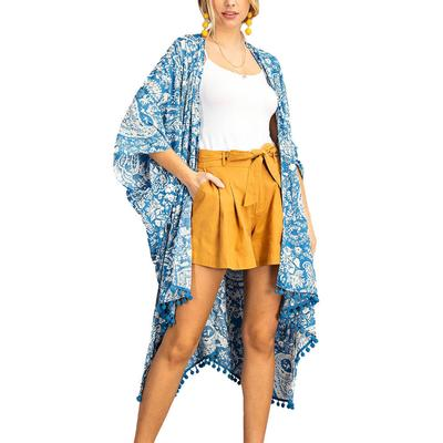 Kori Women's Paisley Pom Pom Kimono