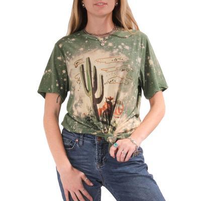 Gina Tees Women's Cactus Cowboy Short Sleeve T-Shirt