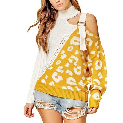 Women's Cold Shoulder Color Block Sweater