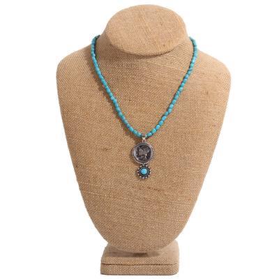 Mercury Dime Turquoise Beaded Necklace