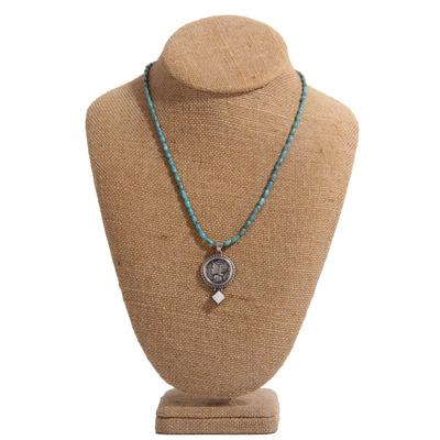 Mercury Dime Green Turquoise Necklace