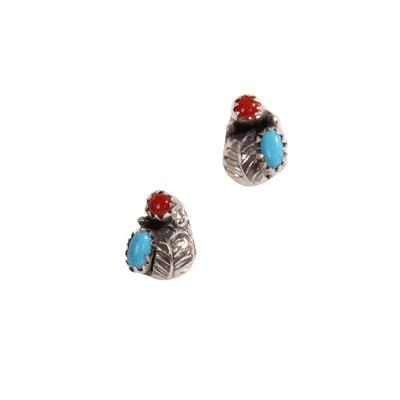 Sterling Silver Turquoise and Coral Stud Earrings