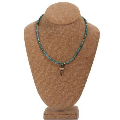 Turquoise Bead Blossom Pendant Necklace