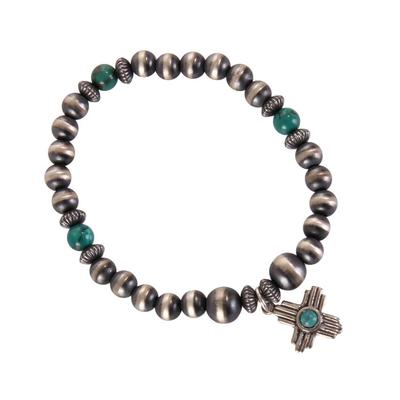 Sterling Silver and Turquoise Cross Bracelet