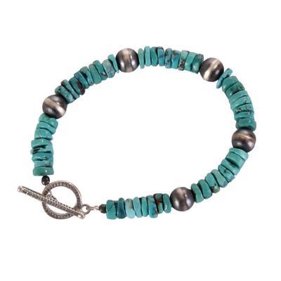 Turq Disc Bead Bracelet