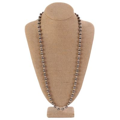 Sterling Silver 34 Inch Beaded Necklace