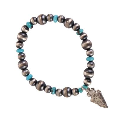Sterling Silver Turquoise Beaded Arrowhead Bracelet