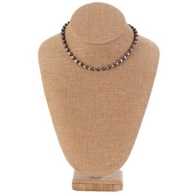 Sterling Silver 14 Inch Oval Beaded Necklace