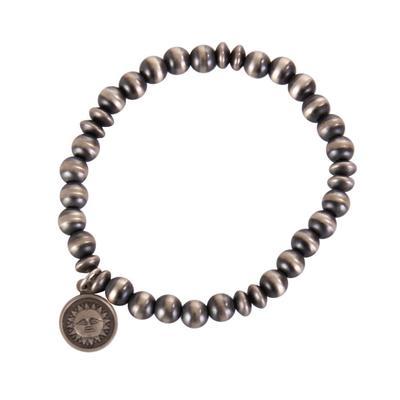 Sterling Silver Beaded Sun Charm Bracelet