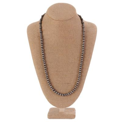 Sterling Silver 32 Inch Large Bead Necklace