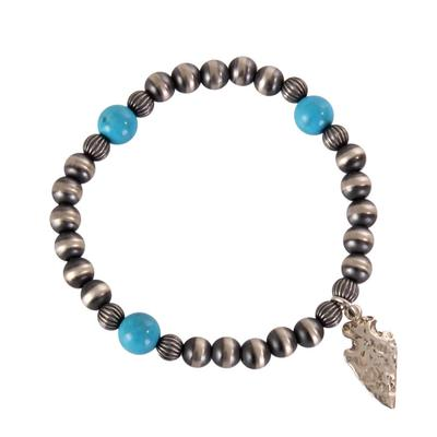 Sterling Silver and Turquoise Arrowhead Bracelet