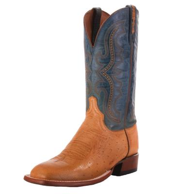Lucchese Men's Antique Saddle Smooth Ostrich Western Boots