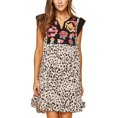 Women's Cheetah Embroidered Mini Dress