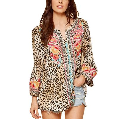 Women's Leopard Embroidered Tunic Top