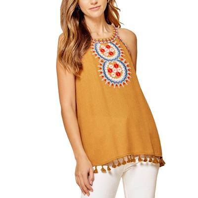 Women's Embroidered High Neck Tank Top
