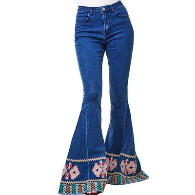 Women's Embroidered Denim Bellbottom Flare Jeans