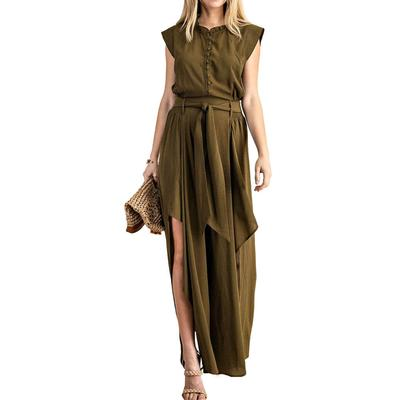 Kori Women's Olive Button-Up Jumpsuit