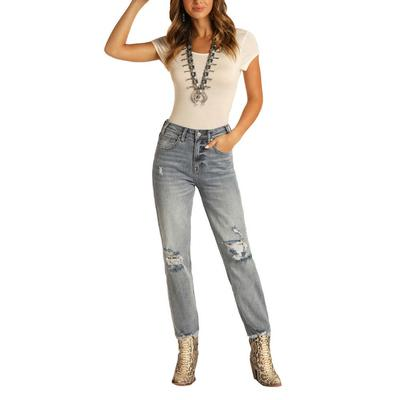 Rock&Roll Women's Cropped Straight Leg Jeans