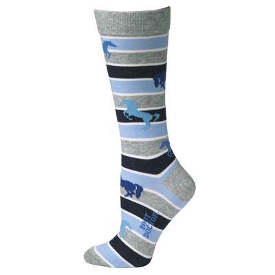 M&F Western Women's Blue Stripped Horse Socks