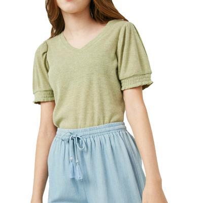 Hayden Girl's Puff-sleeve V-Neck Top