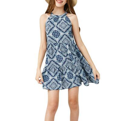 Hayden Girl's Bandana Print Halter Dress