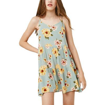 Hayden Girl's Floral Tiered Swing Dress