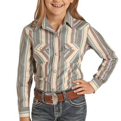 Panhandle Girl's Beige Long Sleeve Snap Shirt