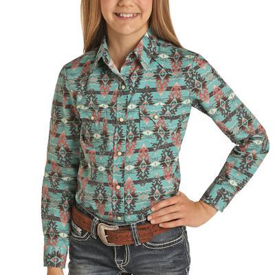 Panhandle Girl's Teal Long Sleeve Snap Shirt