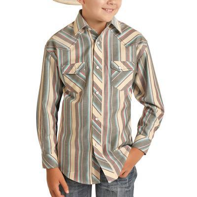 Panhandle Boy's Beige Long Sleeve Snap Shirt
