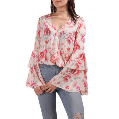 Peach Love Women's Floral Bell Sleeve Top