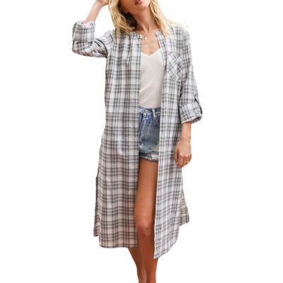 Women's Grey and White Plaid Kimono