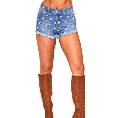 Peach Love Women's Star Print Denim Shorts