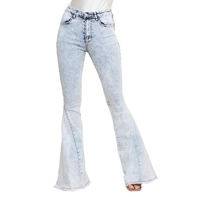 Women's Acid Washed Denim Flare Jeans