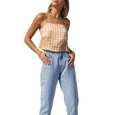 Women's Plaid Print Sleeveless Cropped Cami Top