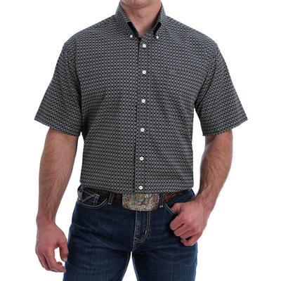 Cinch Men's Short Sleeve Dark Geo Print Button- Down