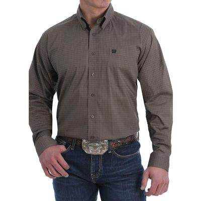 Cinch Men's Dark Printed Long Sleeve Western Stretch Button-Down