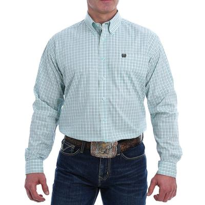 Cinch Men's Light Plaid Western Stretch Button-Down
