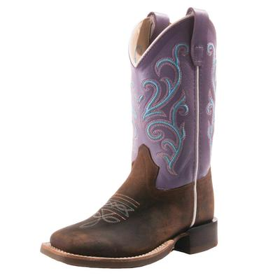 Old West Girl's Purple Square Toe Boots