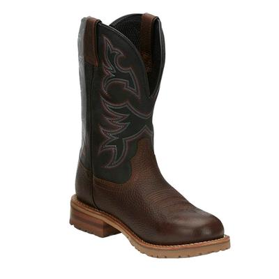Justin Men's Black Herdsman Waterproof Work Boots