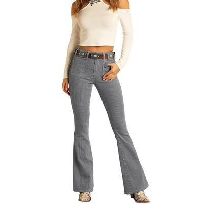 Rock&Roll Women's Stripped Flare Jeans