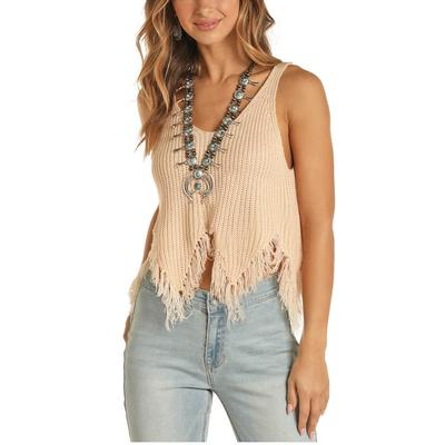 Rock&Roll Women's Frayed Knitted Tank Top