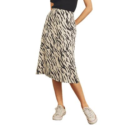Women's Black and White Tiger Midi Skirt