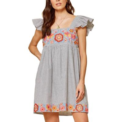 Women's Ruffle Sleeve Embroidered Dress