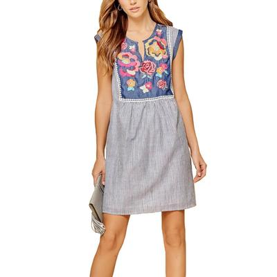 Women's Denim Embroidered Front Dress