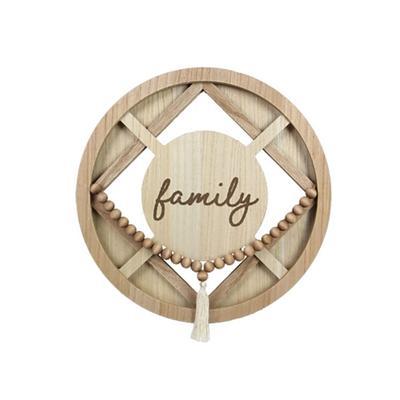 Beaded Tassel Framed Family Wall Sign