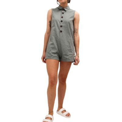Listicle Women's Sage Button-Up Romper