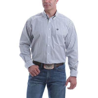 Cinch Men's Stretch Gray and White Plaid Button-Down
