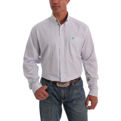 Cinch Men's Tencel White Red and Teal Tattersal Plaid Western Shirt